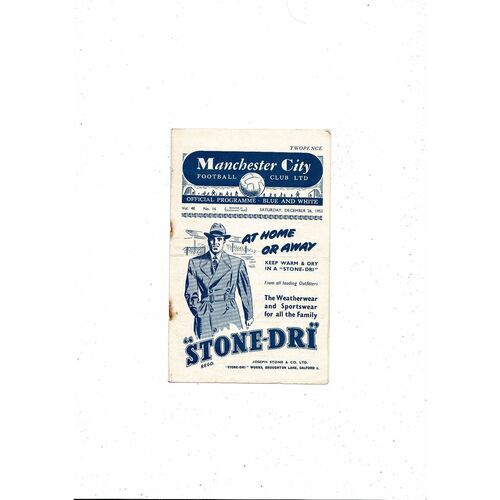 1953/54 Manchester City v Sheffield United Football Programme