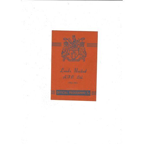 1953/54 Leeds United v Stoke City Football Programme
