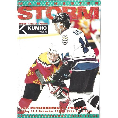 1995/96 Manchester Storm v Peterborough Pirates (17/12/1995) British League Division 1 Ice Hockey League Game Programme