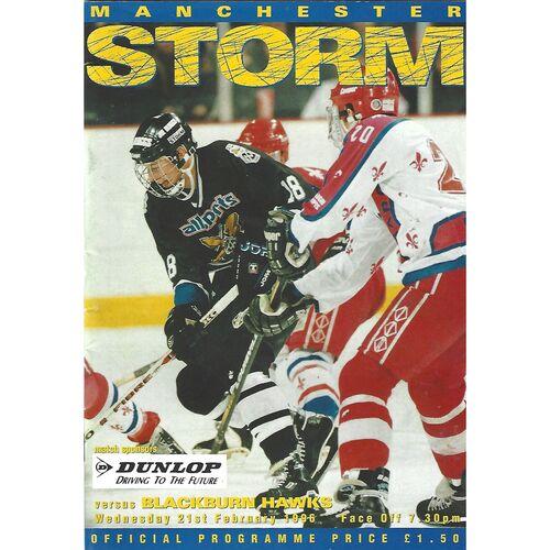 1995/96 Manchester Storm v Blackburn Hawks (21/02/1996) British League Division 1 Ice Hockey League Game Programme