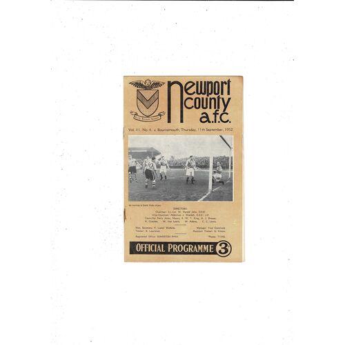 1952/53 Newport County v Bournemouth Football Programme