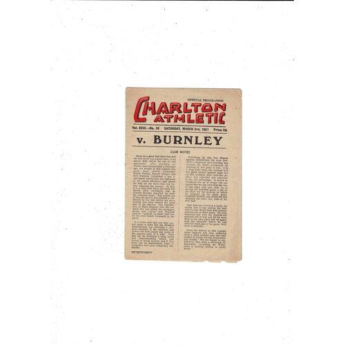1950/51 Charlton Athletic v Burnley Football Programme