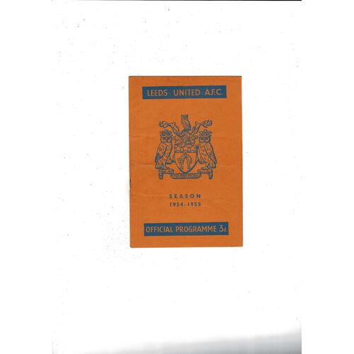 1954/55 Leeds United v Bristol Rovers Football Programme