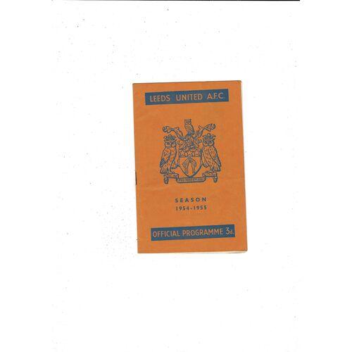 1954/55 Leeds United v Notts County Football Programme