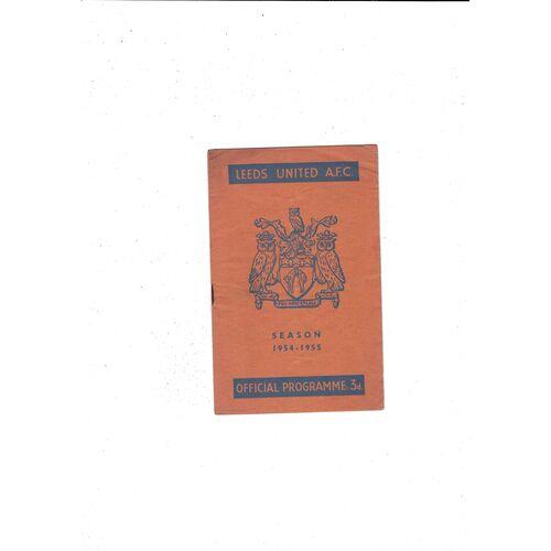 1954/55 Leeds United v Swansea Football Programme