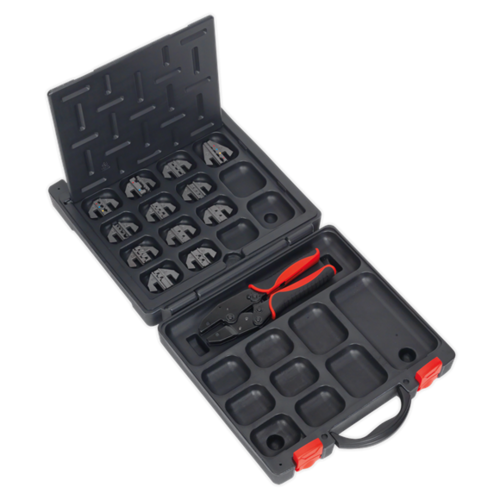 Ratchet Crimping Tool with Jaws and Storage Case - Sealey - AK3858COMBO