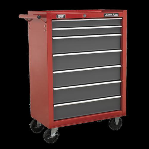 Rollcab 7 Drawer with Ball-Bearing Slides - Red/Grey - Sealey - AP22507BB