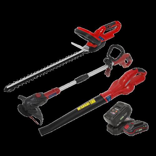 20V Series 3 x Garden Power Tool Kit - 2 Batteries - Sealey -  CP20VCOMBO6