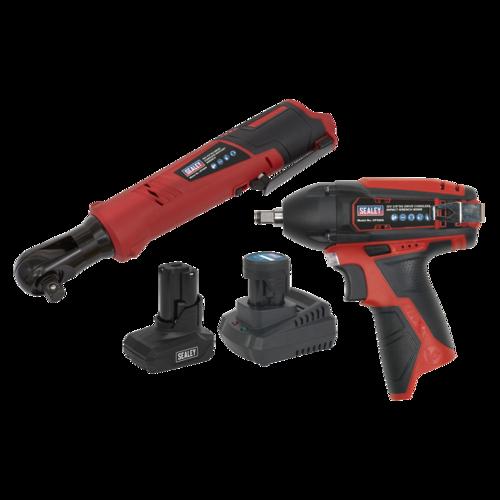 SV12 Series 2 x 12V Cordless Power Tool Combo Kit - Sealey - CP1200COMBO8