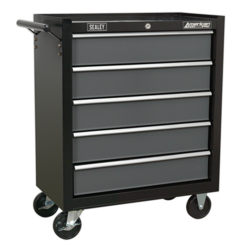Rollcab 5 Drawer with Ball-Bearing Slides - Black/Grey - Sealey - AP2505B