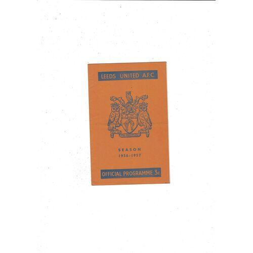 1956/57 Leeds United v Burnley Football Programme