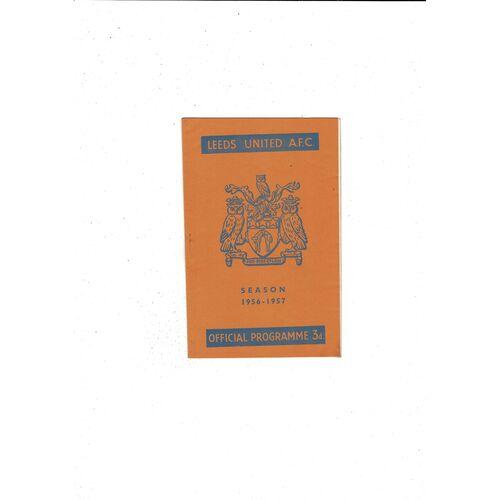 1956/57 Leeds United v Bolton Wanderers Football Programme