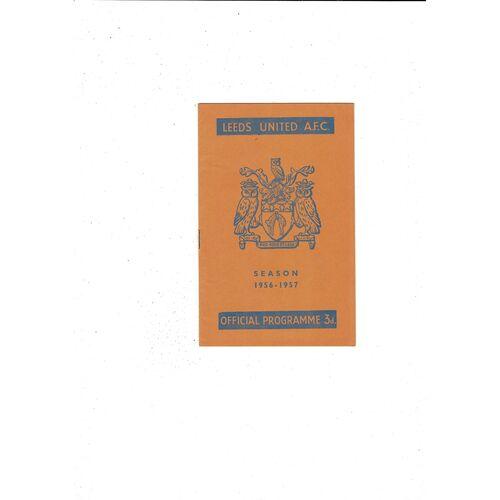 1956/57 Leeds United v Birmingham City Football Programme