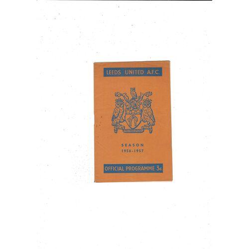 1956/57 Leeds United v Cardiff City Football Programme