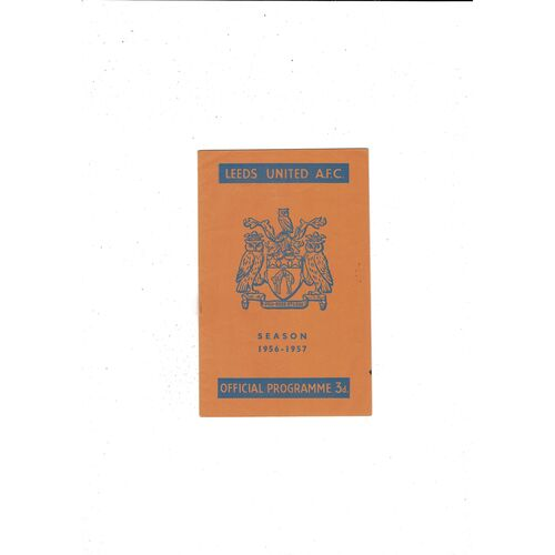 1956/57 Leeds United v Luton Town Football Programme