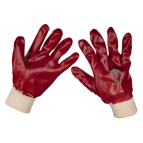 General Purpose PVC Gloves Knitted Wrist (X-Large) - Pack of 120 Pairs - Sealey - 9106XL/B120