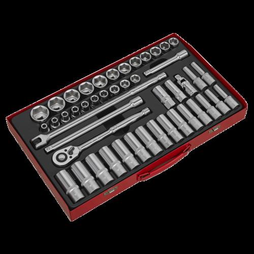 """Socket Set 46pc 1/2""""Sq Drive 6pt WallDrive® - Metric - Sealey - AK6941"""