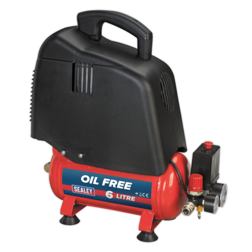 Compressor 6L Belt Drive 1.5hp Oil Free - Sealey - SAC00615