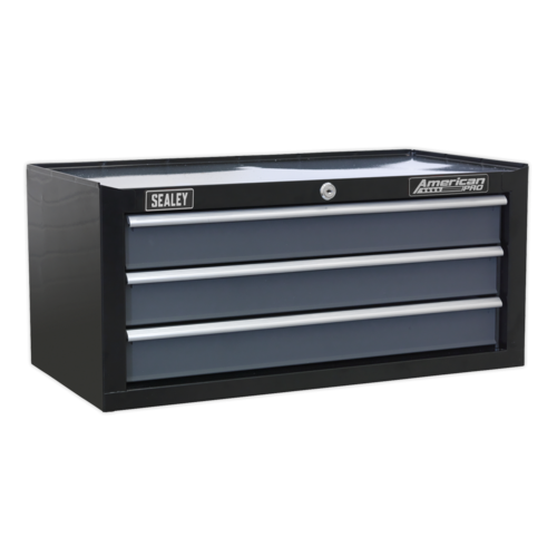 Mid-Box 3 Drawer with Ball Bearing Slides - Black/Grey - Sealey - AP3503TB