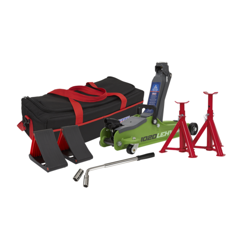 Trolley Jack 2tonne Low Entry Short Chassis - Hi-Vis Green and Accessories Bag Combo - Sealey - 1020LEHVBAGCOMBO
