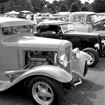 Black and White image of old cars