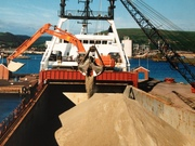 M.V. Aastun is the first vessel to handle Granulated Slag at Port Talbot, 1998