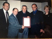 George Abbey (Head of NASA) presenting our ISO 9002 certificate in Cardiff Castle, 1999