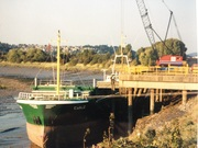 M.V Ewald is the first vessel to be handled when Lysaghts Wharf was re-opened in 2002