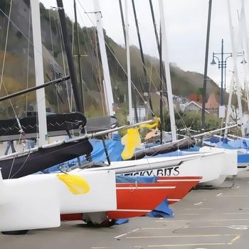 Yachts on Mumbles Promenade.