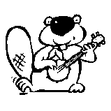 Beaver playing guitar Rubber Stamp (Available in 3 sizes) from £6.89