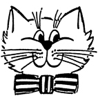 Cat with bow tie Rubber Stamp (Available in 3 sizes) from £6.89