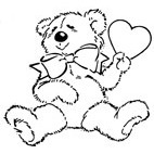 Teddy in Love Rubber Stamp