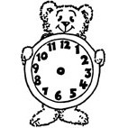 Teddy O'Clock Rubber Stamp