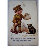 "WWI 1917 Comedy Soldier Postcard ""found in Belgium"""
