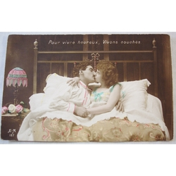 "WWI Postcard ""To live Happily, Live in Bed"""