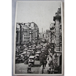 The Strand 1930s Postcard, Buses Wrigleys,  Valentines Silveresque