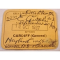 Great Western Railway 1927 Season Ticket Cardiff to Neyland