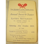 Optimists Lawn Tennis Club 1925 Dance Card