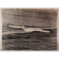 RAF 201 Group Official WWII Photo Depth Charge Attack off Port Said 8 inches x 6 inches
