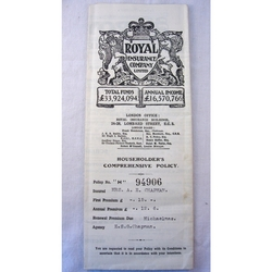 Royal Insurance 1927 Household Policy
