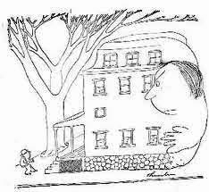 thurber drawing of a house