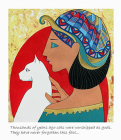 Modern Egytian painting, woman and cat