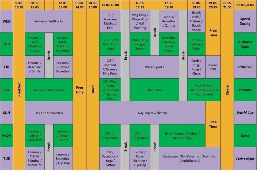 JCamps Spain Example Timetable - Click to enlarge