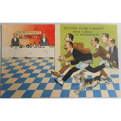 It's Fine to be a Mason. From Labour to Refreshment. Millar & Lang Postcard 2988