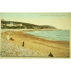 Beach, Langland Bay Old Postcard