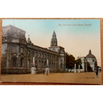 City Hall & Law Courts Cardiff Vintage Postcard Valentines 61772