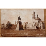 Lord Tredegar Statue & City Hall Cardiff Real Photo 1919 Postcard