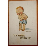 I'm keeping my end up! Donald McGill 1919 Postcard