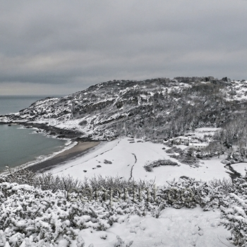 Snow At Pwlldu Bay