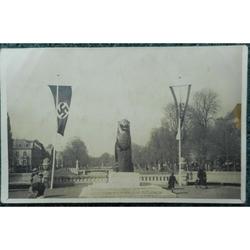 1937 Postcard Konigsallee Dusseldorf Lion Nazi Swastika Flag